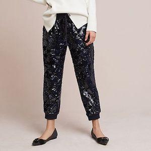Ett:twa Anthropologie Sequin Velvet Joggers Pants